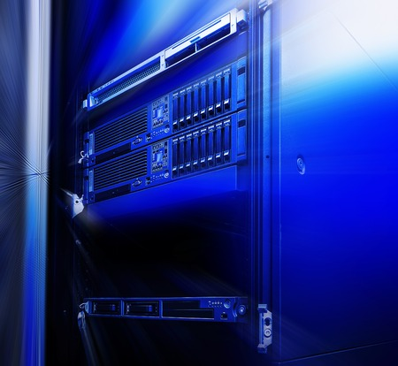 mainframe: Equipment mainframe in the data center closeup raid array of hard disk drives