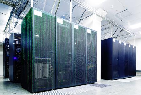 matrix: abstract futuristic server room with matrix code