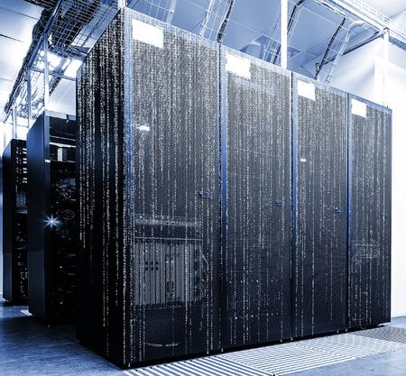 matrix code: abstract futuristic server room with matrix code