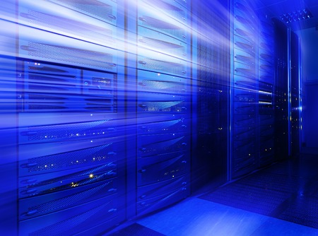 mainframe: Abstract Mainframe stack in the server room blue blur