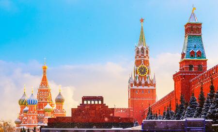 spasskaya: Nice Kremlin wall Spasskaya Tower Mausoleum Red Square sunset winter