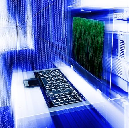 astratto di gestione server di matrice sfocatura terminal codice binario