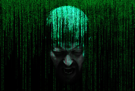immersed: abstract mans face with eyes closed, immersed in a matrix of binary code