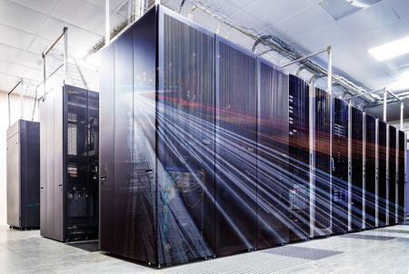 abstract double exposure mainframe room with road traffic