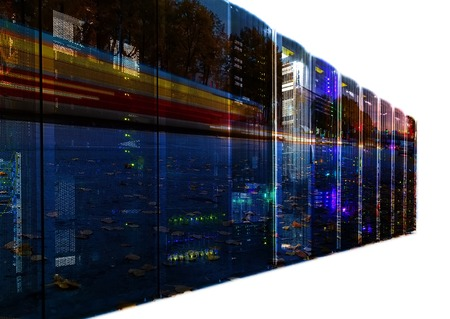 datacentre: abstract double exposure mainframe with road traffic isolate