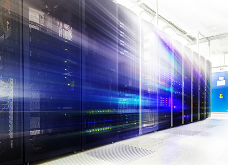 abstractroom with rows of server hardware in the data center