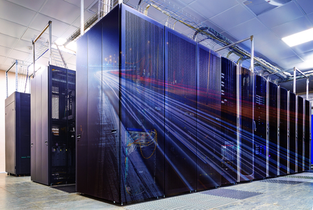 datacentre: abstract double exposure mainframe room with road traffic