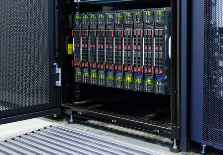 matrix code: blade server with the matrix code Stock Photo