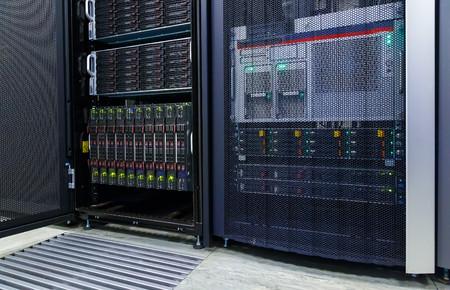blade server server equipment rack data center closeup