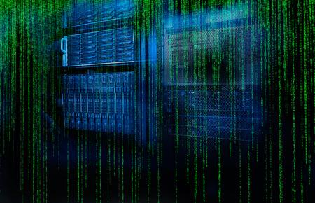 matrix code: blade server with the matrix code and blur blue toning