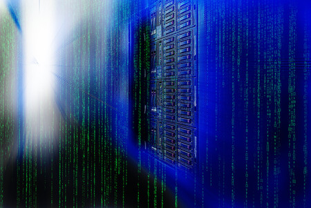 rack mount: matrix code Blade server is a close-up with motiom blur Stock Photo