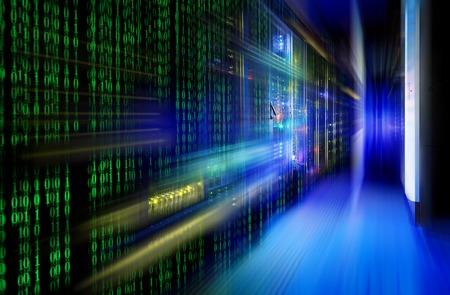 matrix code: series mainframe in a futuristic representation of matrix code