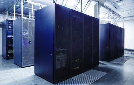 in the ranks: ranks modern supercomputers in server room interior