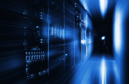 server room in the dark, with bright colored lights Standard-Bild