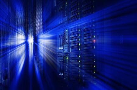 mainframe: modern mainframe disk storage in data center motion blur