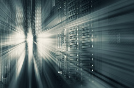 mainframe: modern mainframe disk storage in data center motion blur tone