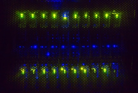 light indicators on the mainframe data center in dark