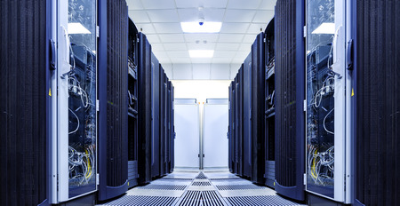 server room with modern equipment in data center Stock Photo
