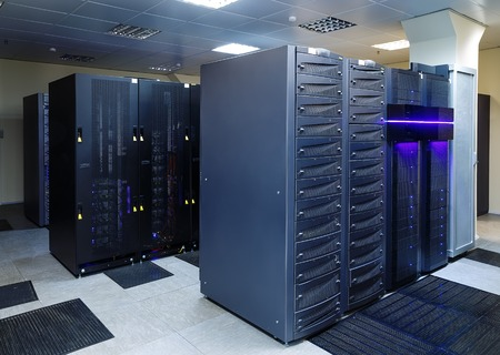 advanced computing: room with modern communication and server equipment