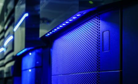 mainframe: Panel modern mainframe closeup blue blur server room