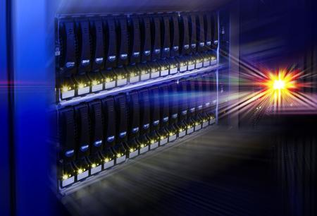 diskdrive: data center modern disk storage perspective closeup
