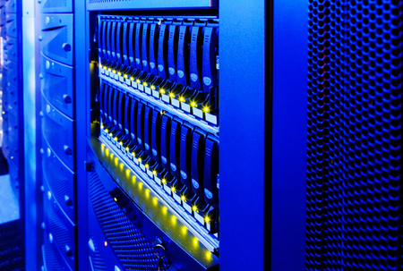 webserver: data center modern disk storage perspective closeup