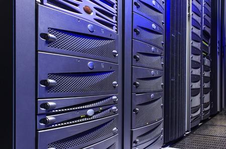 diskdrive: disk storage blades in mainframe server room Stock Photo