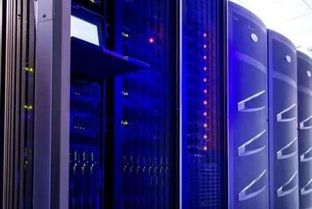 fileserver: server hardware for data center with the control terminal Stock Photo