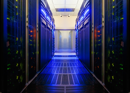 symmetrical data center room with futuristic beams and rows equipment Stock Photo