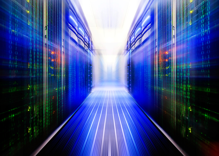 server hardware: symmetrical data center room with futuristic beams and rows equipment Stock Photo