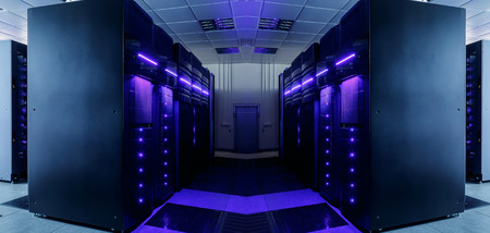 symmetrical data center room with futuristic beams and rows equipment 스톡 콘텐츠
