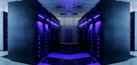 symétrique salle de centre de données avec un équipement de poutres et de lignes futuristes