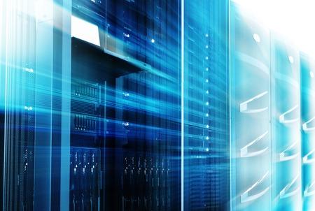 fileserver: supercomputing cluster management terminal data center motion blur bottom view