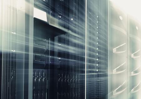supercomputing cluster management terminal data center motion blur bottom view