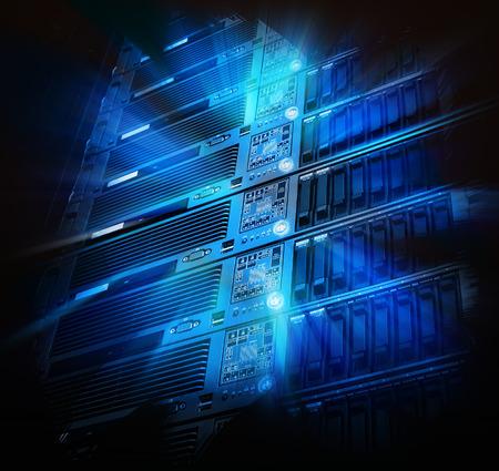 glowing thread cables in disk storage supercomputer data center Standard-Bild