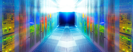 symmetric server room with modern communication and server equipment
