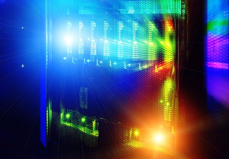 mainframe: futuristic look of the room with mainframe in the data center. server room. Stock Photo
