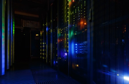 fantastic view of mainframe in the data center row Stock Photo