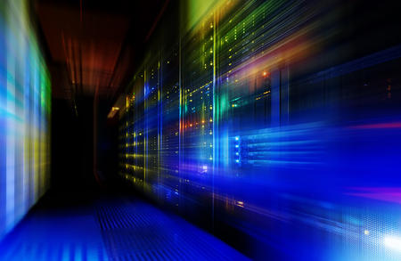 datacentre: fantastic view of mainframe in the data center row Stock Photo