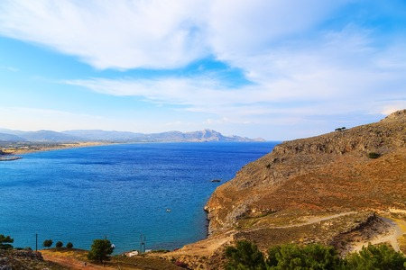 dodecanese: View from above of the main beach in Lindos, Rhodes, one of the Dodecanese Islands in the Aegean Sea, Greece.
