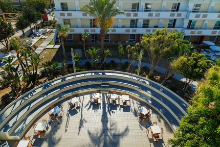 semicircular: top view of the semi-circular stage in the modern Hotel Rhodes