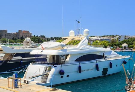 middle ages boat: Luxury Yacht docked at Rhodes Port,Greece day Stock Photo