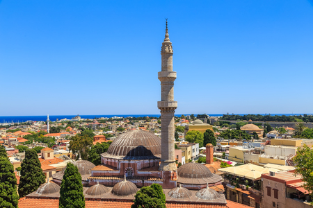 grecian: General view Rhodes with roofs, minaret and mosque