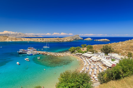 Lindos beautiful bay view from above sunny bright day Rhodes