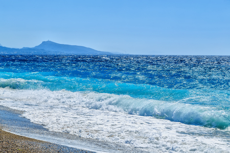 coastline of the island of Rhodes from the Aegean Sea and the city of Rhodes Stock Photo