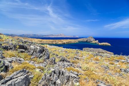 bay among rocks and mountains, Greece Lindos Rhodes