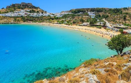 malerischen Insel Rhodos, Lindos Bucht. Griechenland