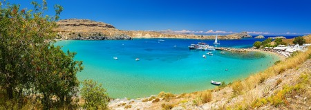 panoramic view of Lindos bay, Rhodes island, Greece 스톡 콘텐츠