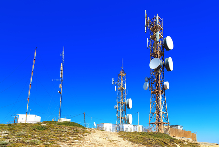 antennas on the top of the mountain Stock Photo