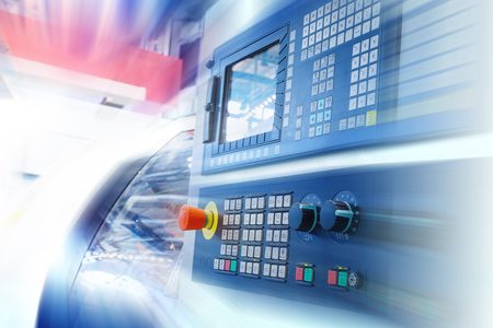 CNC machine control panel. Motion blur. Stock Photo
